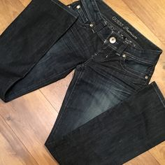 "GUESS DAREDEVIL SUPER LOW RISE 26 DAREDEVIL SUPER LOW RISE GUESS JEANS. Medium Dark Blue,  30"" inseam, .whiskering  along the front below the pockets to the hip area and whiskering behind the back of the knee area boot leg 🌸NEVER WORN- too big Guess Jeans Boot Cut"
