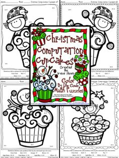 Christmas Computation Cupcakes ~ Math Color By The Code Puzzles For December, Winter and Christmas To Practice Addition And Subtraction Skills ~This Unit Is Aligned To The CCSS. Each Page Has The Specific CCSS Listed.~ This set includes 4 Christmas Cupcake themed math puzzles. Set also includes 4 answer keys for the 4 puzzles. $