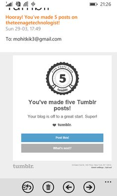 Tumblr gave badge for getting into 5 post club