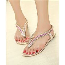 Shining Diamond Special Design Upper Flat Heels Thong Sandals