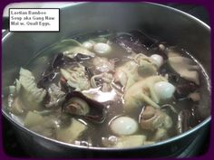 Bamboo soup with quail eggs!!
