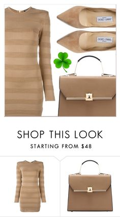 """Beige Motion"" by lucky-1990 ❤ liked on Polyvore featuring Balmain and Jimmy Choo"