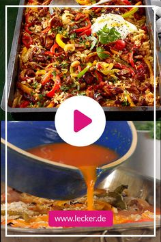 """""""Ein Blech für alle""""-Ofenreisfleisch How easy is that? In the case of oven meat, even the rice is put on the plate and cooked with the meat in the oven. New Chicken Recipes, Meat Recipes, Healthy Recipes, Tasty, Yummy Food, Paella, Finger Foods, Food And Drink, Low Carb"""