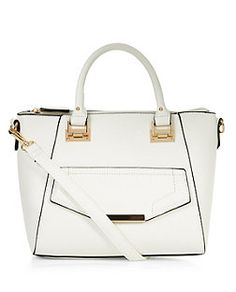 White Pocket Front Mini Tote Bag | New Look