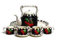 Dollhouse Miniature Matte Porcelain Hand-Painted Tea Set