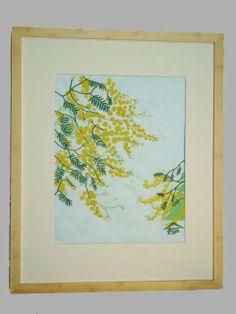 Mimosa Flowers Botanical Art Lino Block Print by ChasingCloudsStudio, $105.00 Personalized