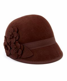 Brown Floral Wool Cloche