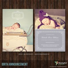 INSTANT Download 5x7 Birth Announcement by TheHummingbirdPress, $8.00