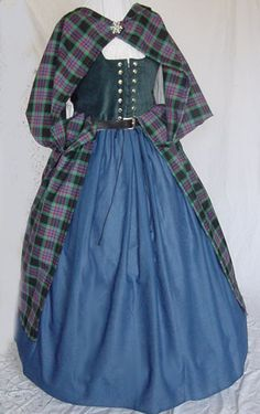Old Fashioned Clothes : Renaissance scottish gowns dresses costumes tartan plaid Celtic Scotland dress Scottish Costume, Scottish Dress, Scottish Clothing, Scottish Fashion, Scottish Plaid, Renaissance Costume, Renaissance Clothing, Historical Clothing, Celtic Clothing