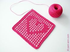 """2-hearts filet coaster - Free written pattern with chart, 4.25"""" square with 1.5mm hook."""