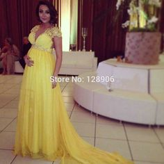 Unique Yellow Prom Dresses with Short Sleeves Capped Beaded Appliques Lace Long Prom Dress For Pregnant Women Party Gowns Custom