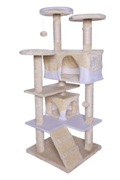 Katzenkratzbaum, Kratzbaum für Katzen, beige-weiß 130 cm