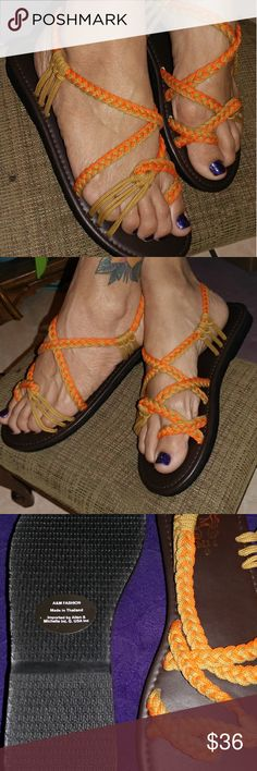 🌻New Lite brown & orange threaded sandles🌻 Adorable lite brown/orange threaded sandals. Wear them all year round?? Size 9. Brand new never worn. Lots of other styles to come and choose from. message me for more details. Open to offers within reason. Thank you for looking and have a great day #Sandles Shoes Sandals