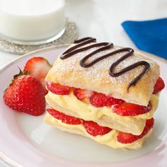 Pepperidge Farm Puff Pastry Mini Strawberry Napoleons Recipe. Try this make-at-home version of a classic bakery treat. Made with Puff Pastry, vanilla pudding, fresh strawberries and lots of whipped cream, they're a fabulous holiday dessert.