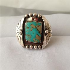 Rare .925 Sterling Silver Turquoise Agate Native American Ring Signed