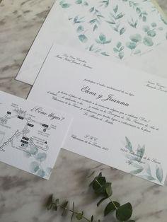 Invitación personalizada Eucalipto. Diseño de papelería personalizada. Bodas. Papelería boda.