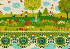 Beppo Kurzübersicht  **Swafing exclusive** Baumwolldruck, Wald, Bäume, Blumen, Äpfel, Birnen, Zwerge, Eichhörnchen, Vögel, Schmetterlinge, Pilze Breite: 150 cm Zusammensetzung: 100 CO Gewicht: ca. 120 g/m²