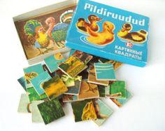 Wooden Puzzle Picture Tiles Set Estonian Vintage Children Wooden Pieces Table Game USSR Soviet