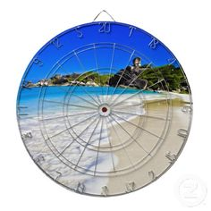 Tropical beach dartboard with darts