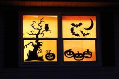 Make a Halloween window by simply using stencils and black cardboard