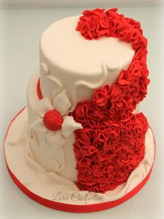 """Red Passion"" Valentine's Cake  ~ sugar ruffles and flowers ~  all edible"