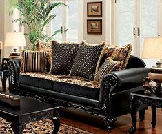 Furniture of America SM7505-SF Theodora Furniture, Black/Tan