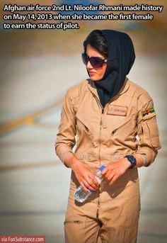 Afghan air force 2nd Lt. Niloofar Rhmani became the first female to earn the status of pilot