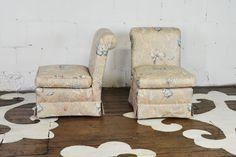 "Classic pair of slipper chairs ready for a new textile.    23"" wide x 34"" high x 31"" deep   seat height: 18""   inside seat depth: 21""    $825.00 to purchase the pair as shown   $500.00 each to reupholster   11 yards needed, total"