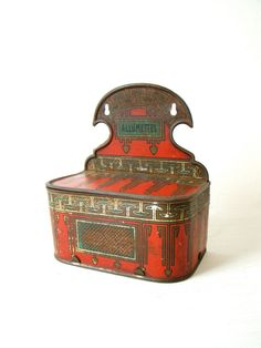 RARE Antique French Matches Box, French Art Deco Toleware Allumettes Matches Box, small wall hanging red deco box