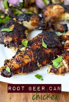 Gluten-free Root Beer Can Chicken is a delicious summer grilling recipe with crispy skin and juicy chicken! | iowagirleats.com