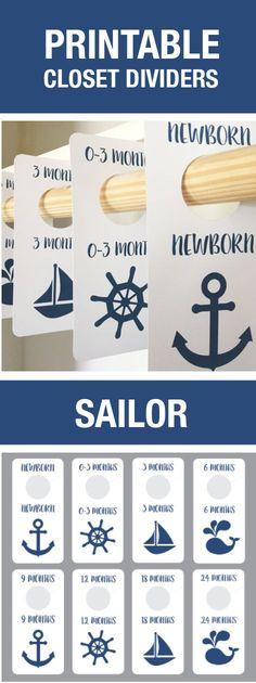Sailor Nursery Theme, Sailor Closet Dividers, Baby Boy, Nursery, Printable, DIY Nursery, Baby Room, Closet Organization, Boy Baby Shower, Baby Shower GIft, Baby Shower Decorations, Cheap, Navy, Nautical Theme