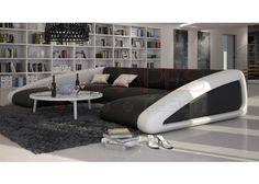 Grand canapé d'angle original en cuir HOPE LARGE