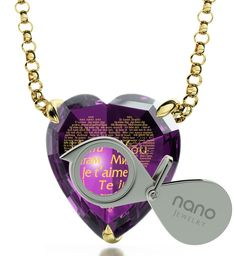"""Gold Plated Heart Necklace I Love You Pendant Inscribed 120 Languages Purple Cubic Zirconia Gemstone, 18"""""""