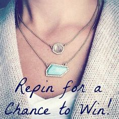 #PinToWin this oh-so-chic 2-in-1 convertible #necklace. Can be worn as individual pendants, nested together, or layered on with the other pieces. Get the look-of-luxe with gold sand glass over iridescent #mother-of-pearl + semi-precious #amazonite surrounded by light peach Swarovski crystal pavé. Unique geometric shapes + facets lend an air of modern sophistication to this elegant layering essential.