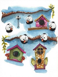 Original watercolor painting whimsical bird crow house tree branch spider gossip #IllustrationArt