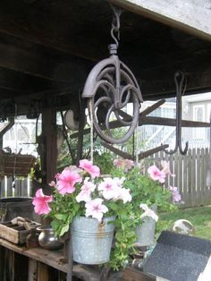 Old pulley and smaller buckets I aged with Lsyol hanging on front porch! Another finished Outdoor Projects, Outdoor Decor, Outdoor Living, Metal Projects, Outdoor Stuff, Garden Projects, Outdoor Spaces, Old Sewing Machines, Farmhouse Garden