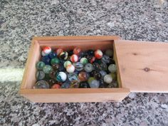 Lot of 140 vintage glass marbles in wood cigar box- nice condition and ready to be added to your collection by HeathersCollectibles on Etsy