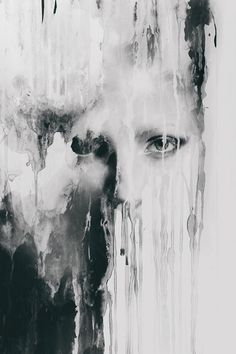 This is an interesting mix between a photo of a face and dripping water on a…