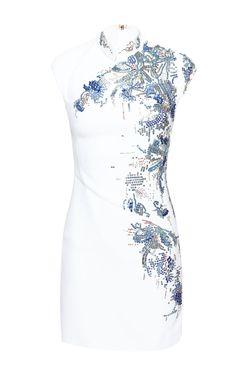 Off White Floral Embroidered Dress by Antonio Berardi for Preorder on Moda Operandi