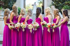 A Belle In Texas Coco Bridesmaid Gowns Bright Purple Dresses Fuchsia Wedding Colors