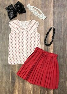 A perfect set for a classic look, the woven fabric sleeveless blouse has deep red hearts and a double collar, and the coordinating silky pleated skirt has an elastic waistband for a comfortable fit. Any accessories shown are not included. #hearts #vday #boutiqueforgirls #love #fashionista Cute Girl Outfits, Trendy Outfits, Red Hearts, Classic Looks, Sleeveless Blouse, Pleated Skirt, Two Piece Skirt Set, Deep, Summer Dresses