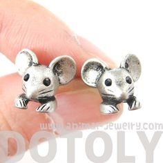 mouse-mice-realistic-animal-stud-earrings-in-silver-animal-jewelry $7 #mice #mouse #earrings #jewelry #cute