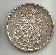 CANADA 1965 50 CENTS MOEDA DE PRATA LINDA PATINA!!!