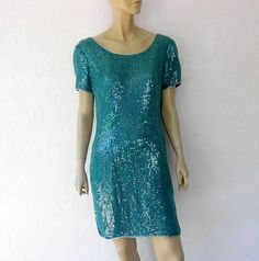 Vintage Silk Evening Dress 80's Emerald Green Silk by luvofvintage, $56.00