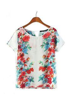 4628142ed0 Sheer Tropical Chiffon Floral Blouse Floral Chiffon