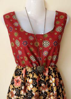 Jennifer Lilly Handmade Romantic Buragandy and Black Floral Dress, $30.00