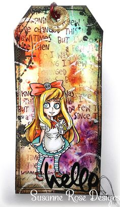 Susanne Rose Designs: Alice in Wonderland Tag with Visible Image Stamps Art Journal Pages, Junk Journal, Art Journaling, Image Stamp, Handmade Tags, Artist Trading Cards, Christmas Gift Tags, Rose Design, Card Tags