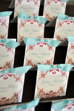 Square Ribbon Place Cards -100 cards for $80-choose any design