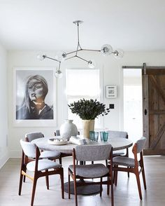dining room lighting modern. Contemporary Room Modern Dining Room With Round Table Gray Upholstered Chairs  And A Modern Globe Light Fixture Throughout Dining Room Lighting P