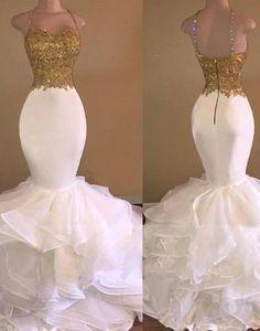 White mermaid long prom dress, white mermaid evening dress for teens